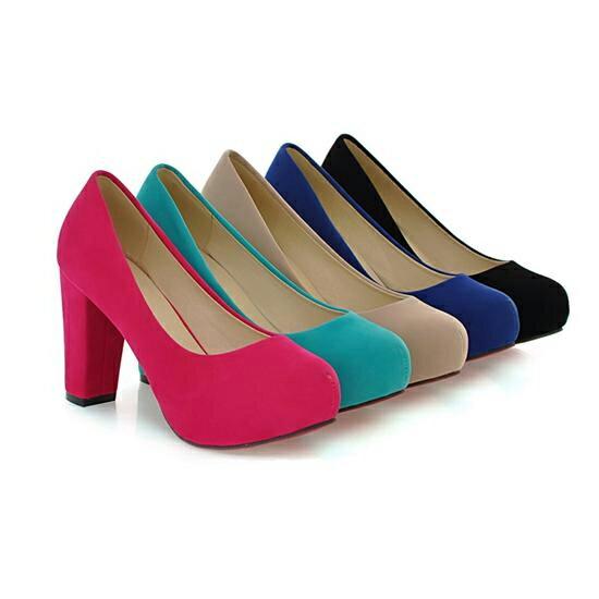 <br/><br/> 時尚百搭圓頭磨砂粗跟防水台氣質優雅婚鞋高跟鞋-黑/杏/藍/綠/紅(34-39)【3744488202485】<br/><br/>