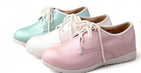 日系內增高小白皮鞋淺口系帶休閒平底女鞋白  藍  粉34~39~no~4112351639