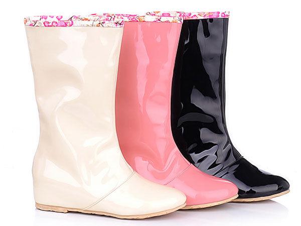 可翻折兩穿牛筋底防滑中筒低跟雨靴女靴子~粉 米 黑色^(34~43^)~yb15~6514
