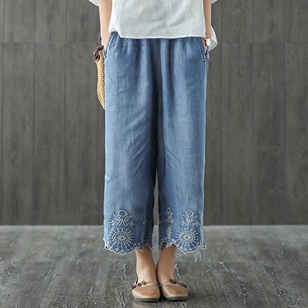 文青刺繡牛仔褲寬褲長褲【75-17-8424-18】ibella艾貝拉