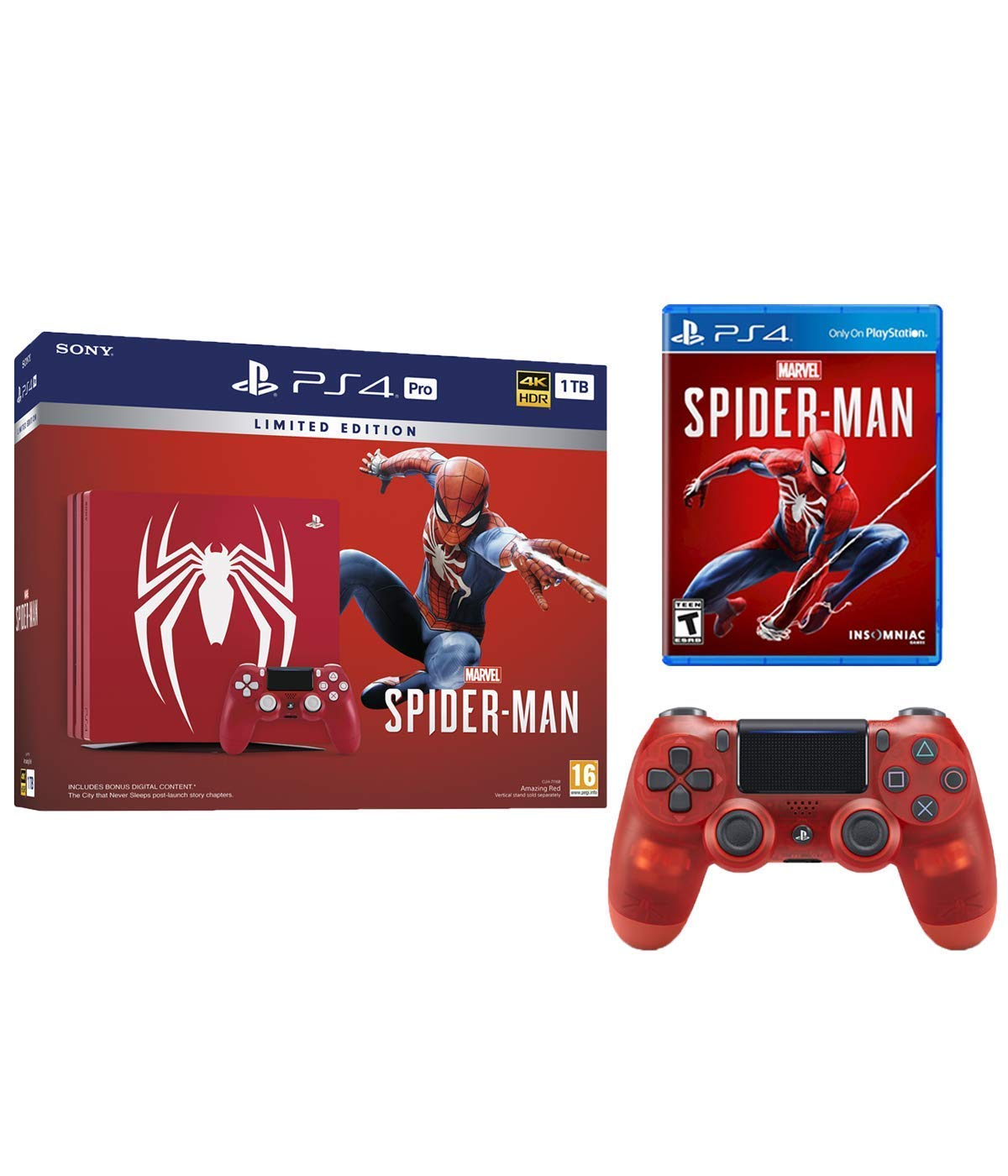 Sony Playstation 4 Pro Marvel's Spider-Man Limited Edition Amazing Red 1TB  Console with Extra Crystal Red Controller