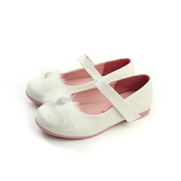 HUMAN PEACE:KINGCHILDED小女生鞋娃娃鞋亮粉絨毛球白色中童童鞋no155