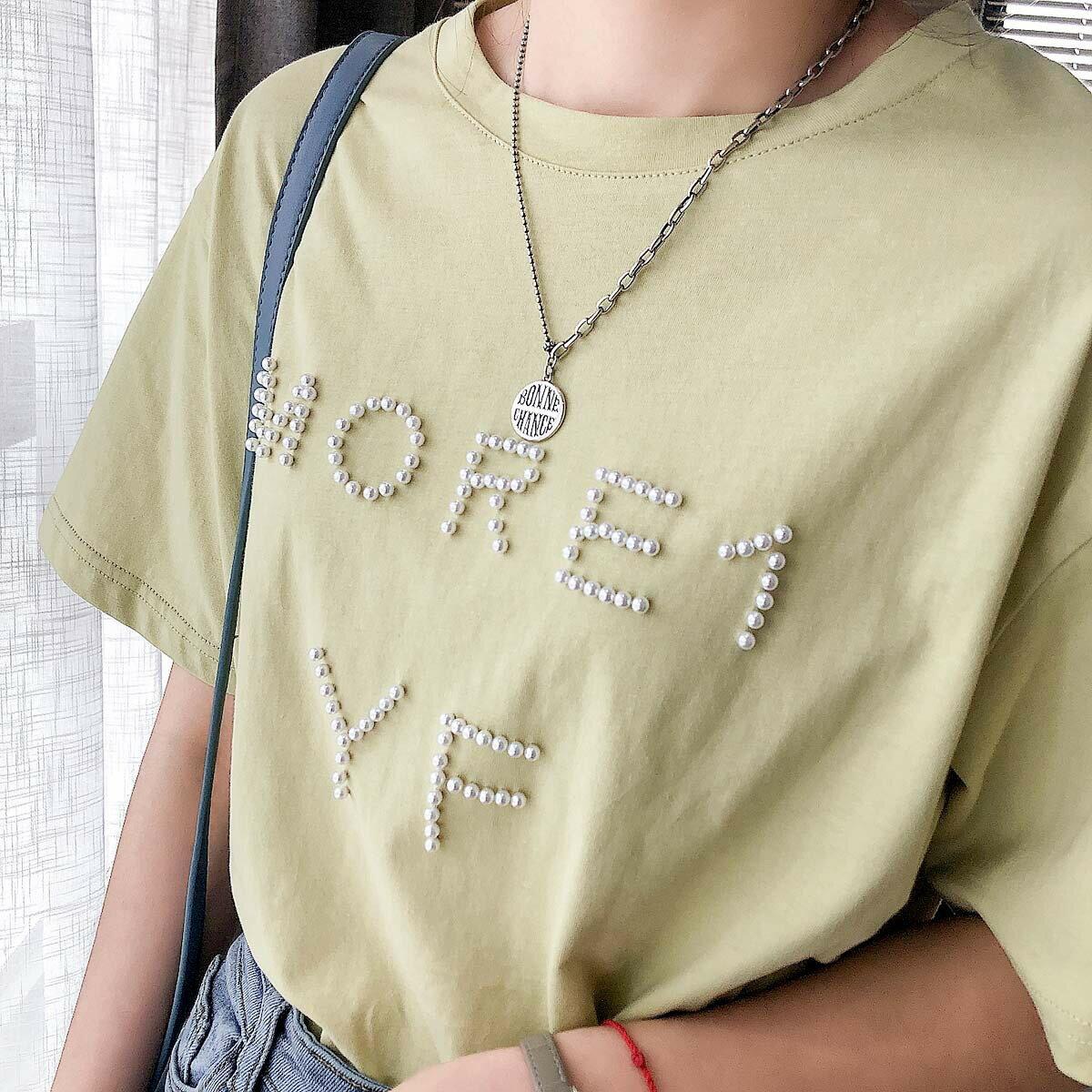 夏季新款圓領短袖T恤字母釘珠韓版寬鬆打底純色上衣