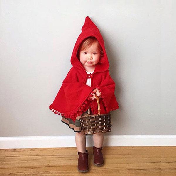 Anna S:ins小紅帽流蘇披肩披風外套斗蓬罩衫上衣紅毛球連帽斗篷風衣毛呢歐美ANNAS.