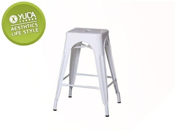 【YUDA】工業風 哈利 白色 中 吧檯椅/餐椅/休閒椅/吧椅 J8F 489-16
