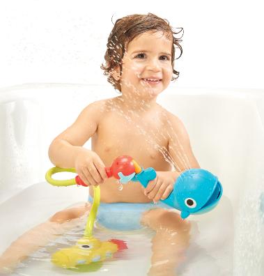 【淘氣寶寶】以色列 Yookidoo 戲水玩具-噴水鯨魚蓮蓬頭套組
