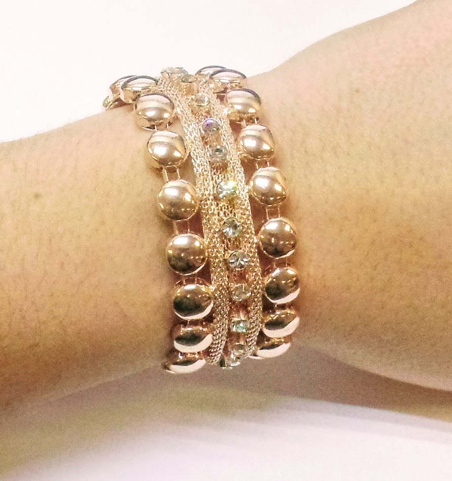 Adorne Metal Mix & Diamante Cuff with Magnetic Closure- Rose OR Matching Neclace 1