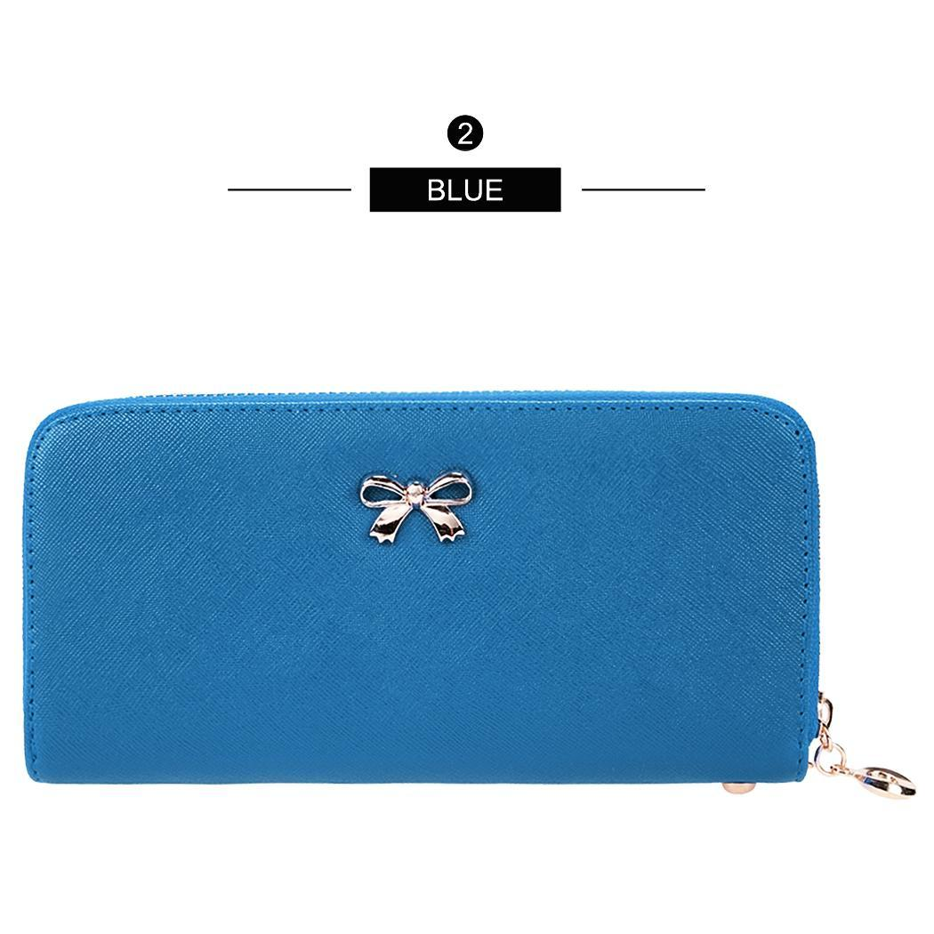 Synthetic Leather Zip Around Solid Purse Credit ID Card Holder Long Clutch Wallet with Wrist Strap 1