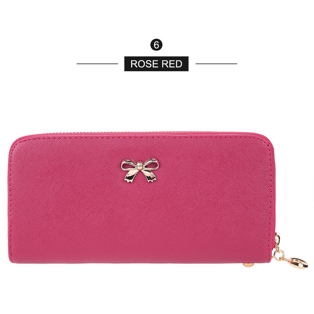 Synthetic Leather Zip Around Solid Purse Credit ID Card Holder Long Clutch Wallet with Wrist Strap 5