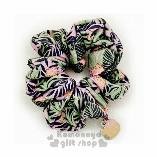 〔小禮堂〕Hello Kitty X Iolani 絲質髮圈《綠.大臉.夏威夷風.葉子》也可當可愛手環