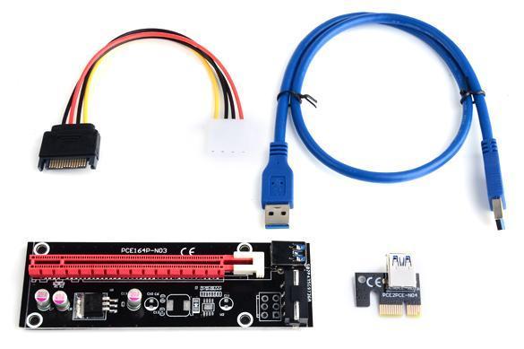 1 x PCI-E 1X Riser Board 1 x PCI-E 16X Adapter USB 3.0 Cable Power Connector 5