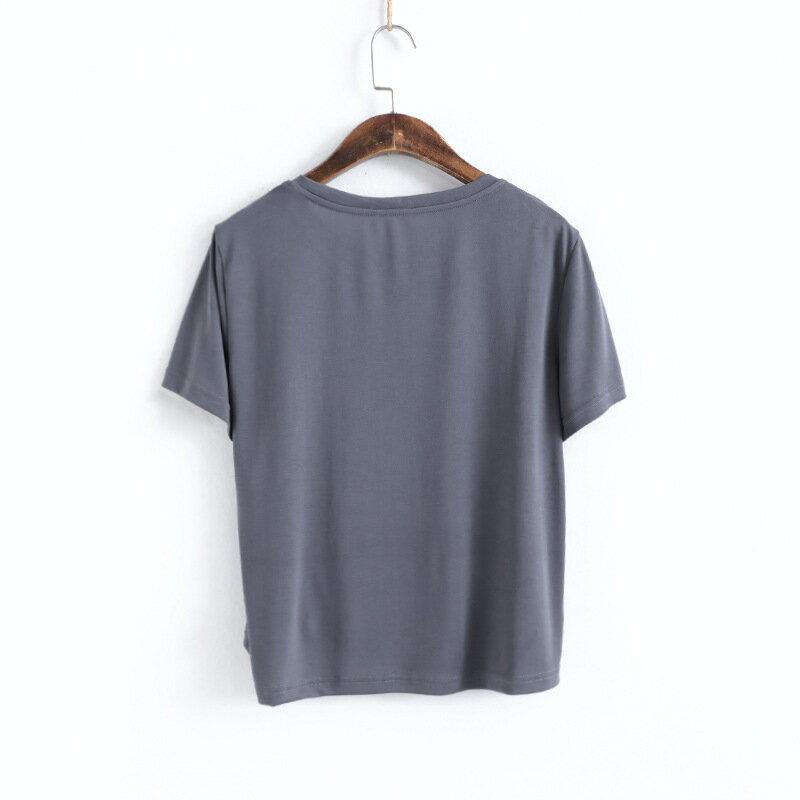 010696夏純色側邊抽繩綁帶圓領短袖T恤女修身短款設計感心機上衣