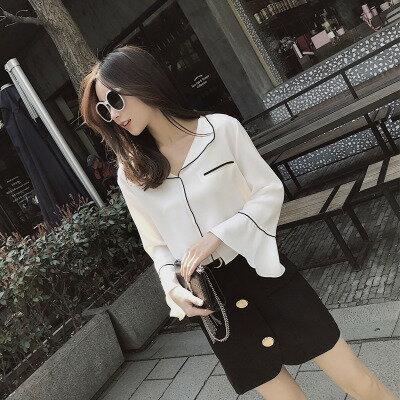 韓系女裝喇叭袖珍珠雪紡襯衫樂天時尚館。預購