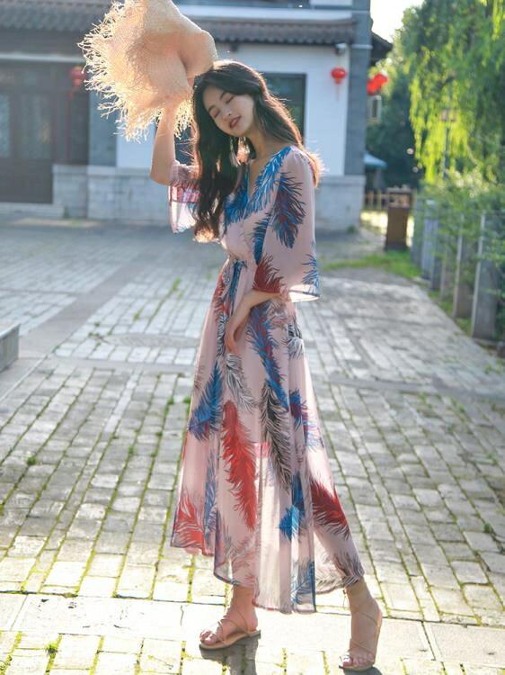 連衣裙 夏季泰國巴厘島波西米亞印花連衣裙海邊沙灘度假長裙女 全館八五折