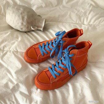 高筒帆布鞋女港風板鞋韓版ulzzang潮原宿街拍百搭學生歐美風   全館八五折