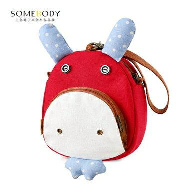 三色補丁斜背包新款韓版學生卡通少女百搭帆布零錢手機小包包    全館八五折