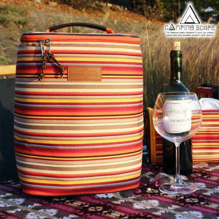 CAMPING SCAPE 條紋紅酒/酒杯收納袋 / 城市綠洲(酒瓶收納 收納包 料理包 工具包 戶外 露營小物)