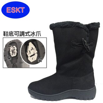 ESKT 女中筒雪鞋SN203/城市綠洲 (雪靴 防潑水 防雪 刷毛 麂皮 冰爪)