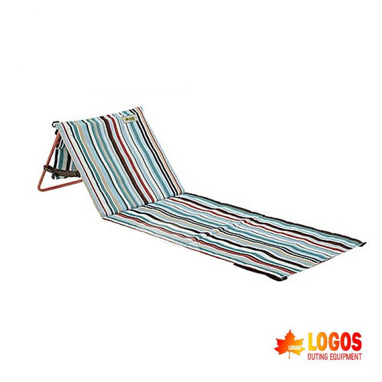 LOGOS 條紋貼地躺椅LG73173036/城市綠洲(戶外休閒椅.露營椅野營椅.折疊椅子)