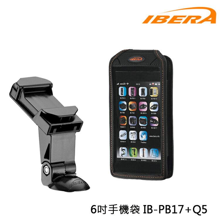 IBERA 6吋手機袋 IB-PB17+Q5 /城市綠洲(台灣製造.輕量化.自行車.腳踏車.透明觸碰屏.附扣具)