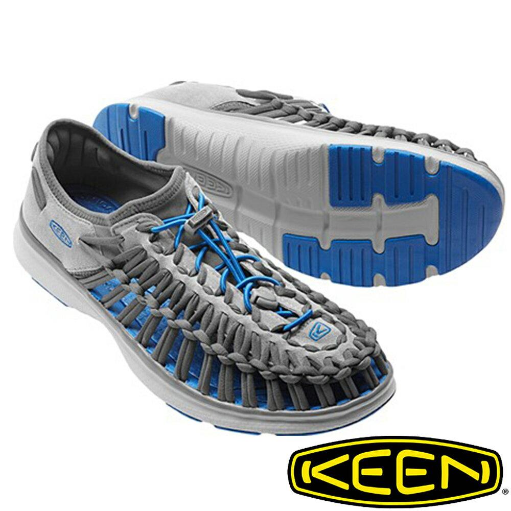 【KEEN 美國】UNEEK O2男拉繩涼鞋『淺灰/寶藍』1016909 水陸兩用鞋|自行車|溯溪|健走|健行|海邊|沙灘鞋