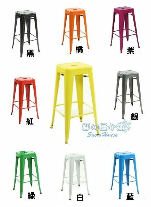 ╭☆雪之屋小舖☆╯法國工業風高腳椅/吧椅/鐵椅O-63HP05 /造型餐椅/休閒椅/76公分