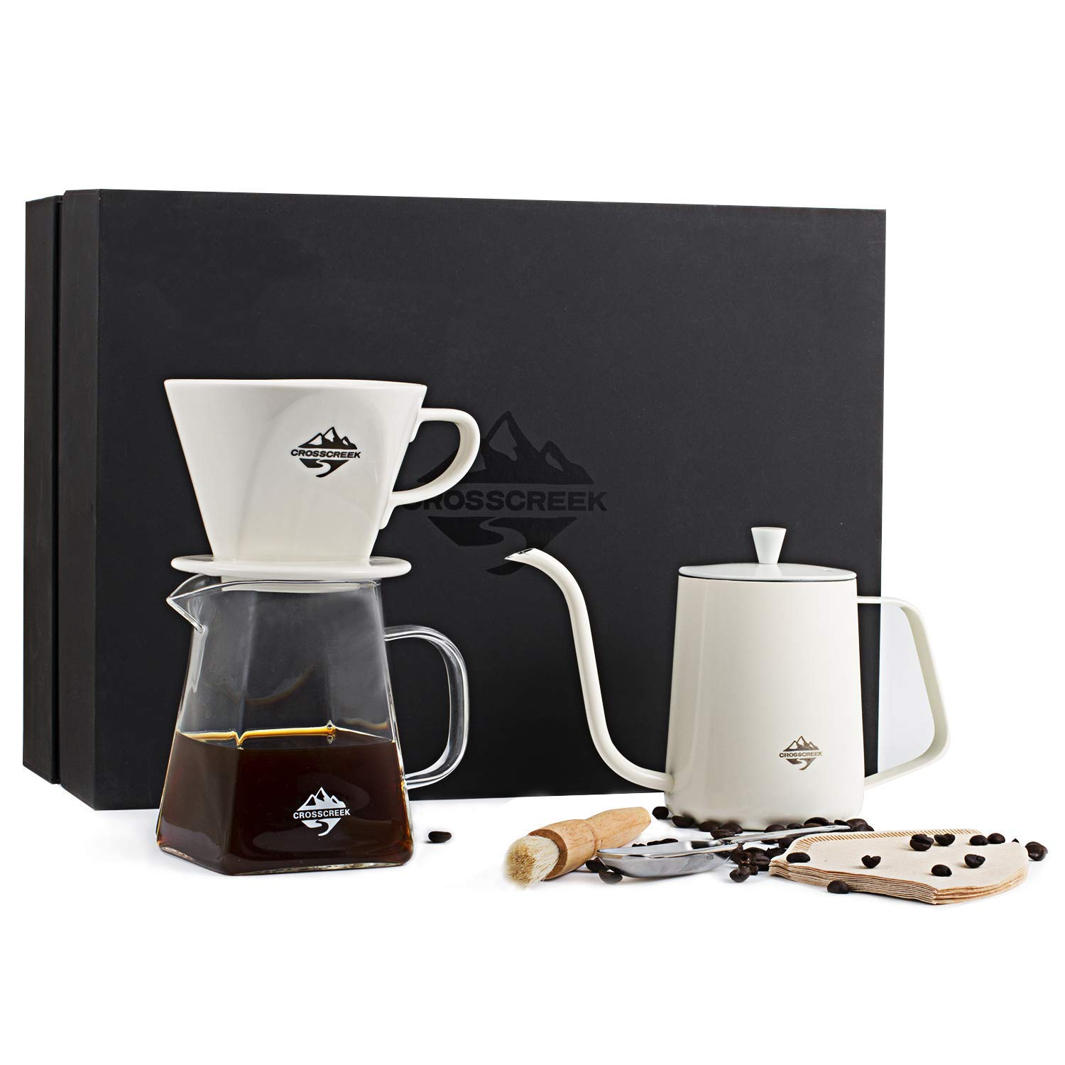 venus manufacture: crosscreek coffee maker set, stainless steel coffee  kettle, glass square carafe, ceramics coffee dripper, coffee filters,  coffee