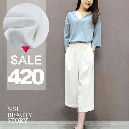 SISI【E6016】時尚名媛休閒V領七分袖雪紡上衣+七分寬管褲套裝