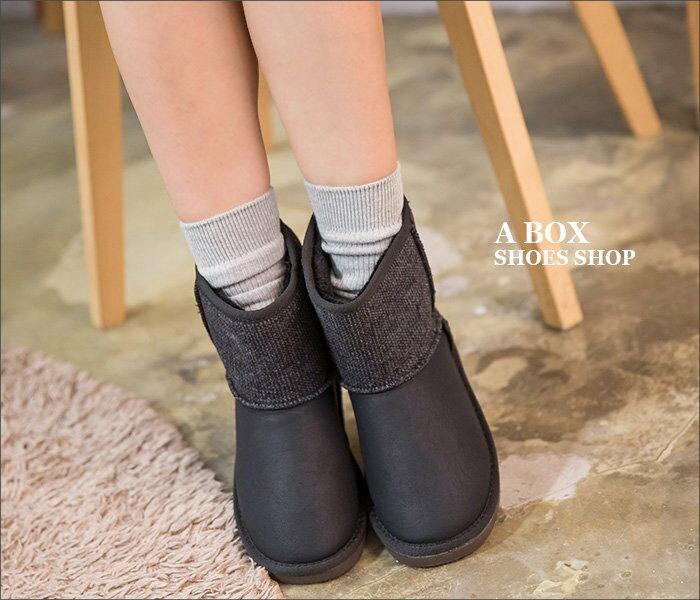 【KDLF5354】寒冬必備保暖厚毛料 時尚混色毛呢拼接皮革  防滑膠底中筒雪地靴 雪靴 2色 1