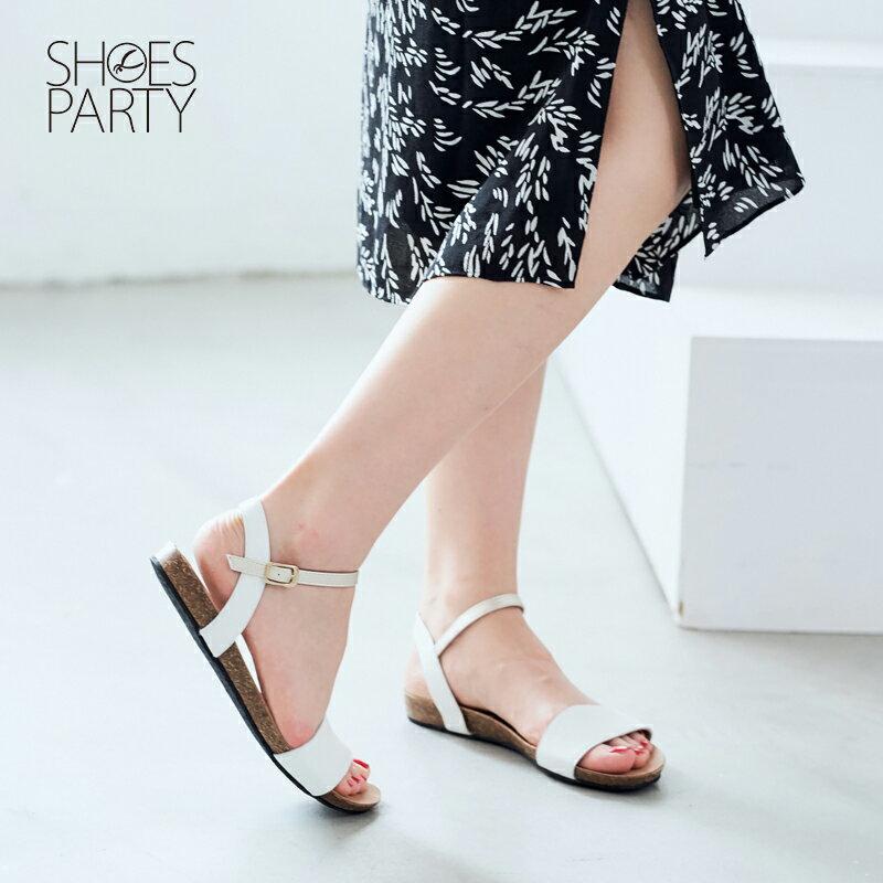 【S2-17326L】服貼牛皮底單色涼鞋_Shoes Party 2