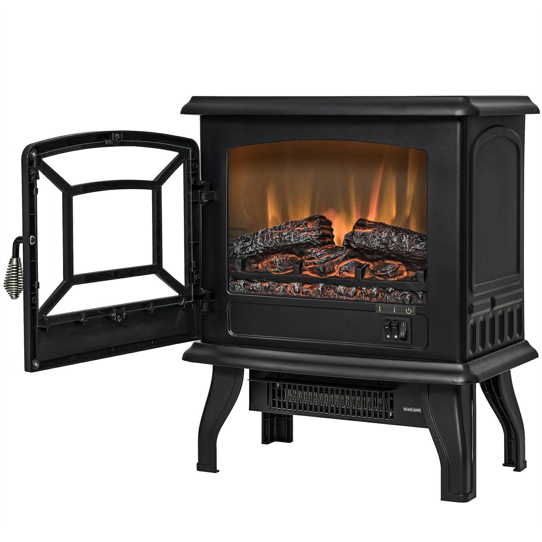 "AKDY 17"" Black Finish Freestanding Portable Electric Fireplace Heater 2 Setting Level 3"