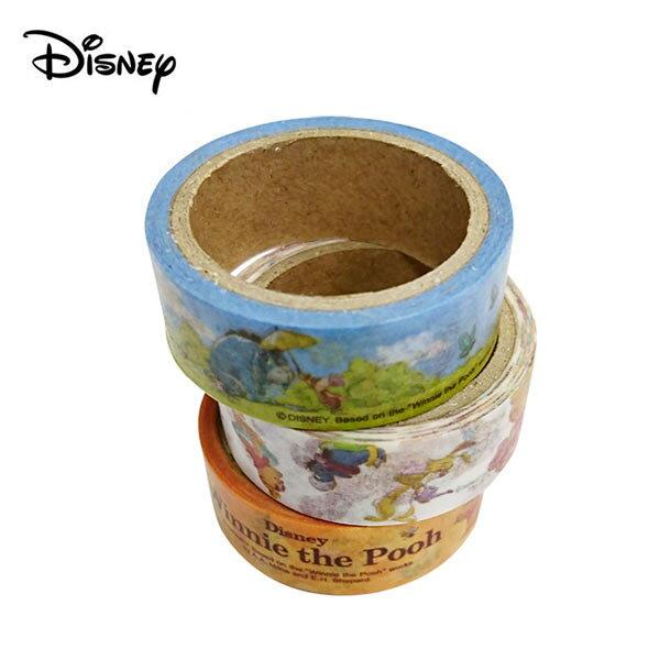 【日本正版】小熊維尼紙膠帶3入組1.5cm寬手帳貼Winnie迪士尼Disney-864463