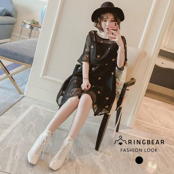 黑色洋裝--優雅氣質蕾絲圓領荷葉袖寬鬆顯瘦刺繡雪紡洋裝(黑L-3L)-U515眼圈熊中大尺碼
