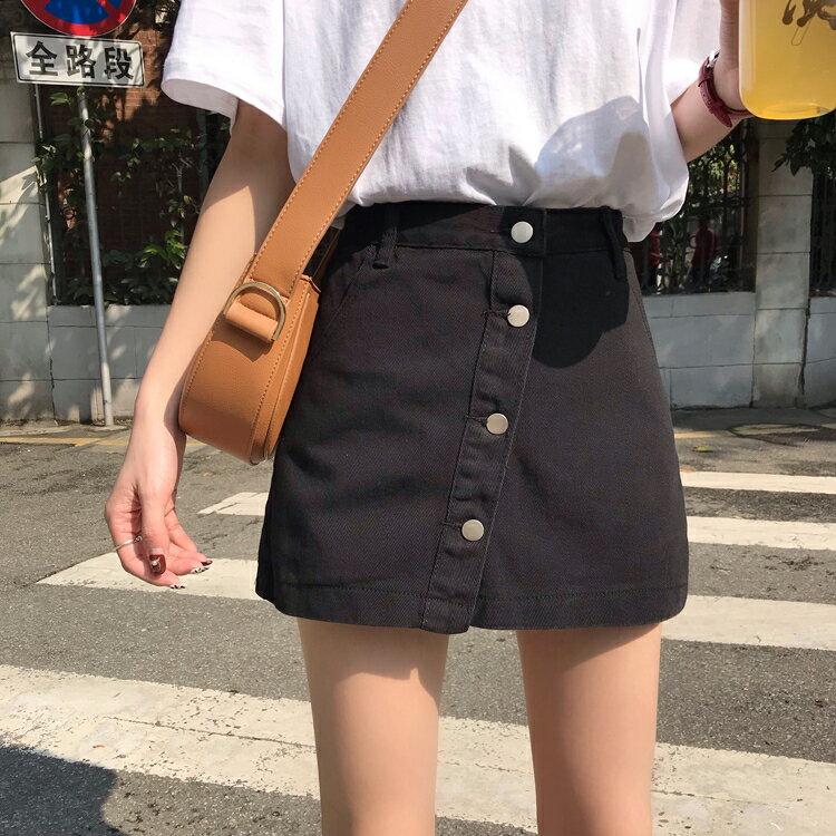 牛仔裙 夏裝女裝新款韓版學院風百搭單排扣牛仔裙高腰防走光裙褲半身裙潮  廠家直銷