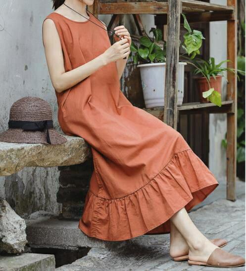 無袖洋裝 可然 巷雨/文藝棉麻連身裙女夏新款 寬鬆無袖亞麻長款裙子4色  廠家直銷