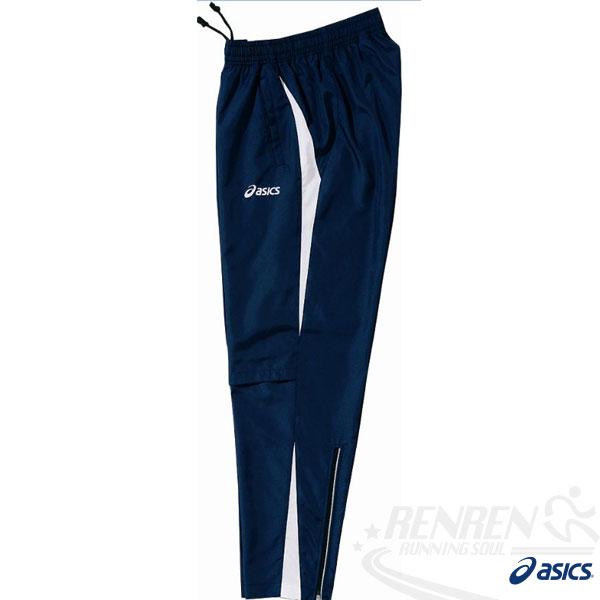 ASICS 亞瑟士 男風衣長褲(藍色) 運動套裝下 吸溼散熱.防潑水,XXL.3XL 。