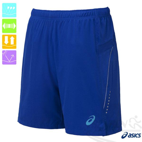 ASICS亞瑟士LITESHOW慢跑短褲(寶藍)反光路跑褲後腰拉鍊口袋運動短褲