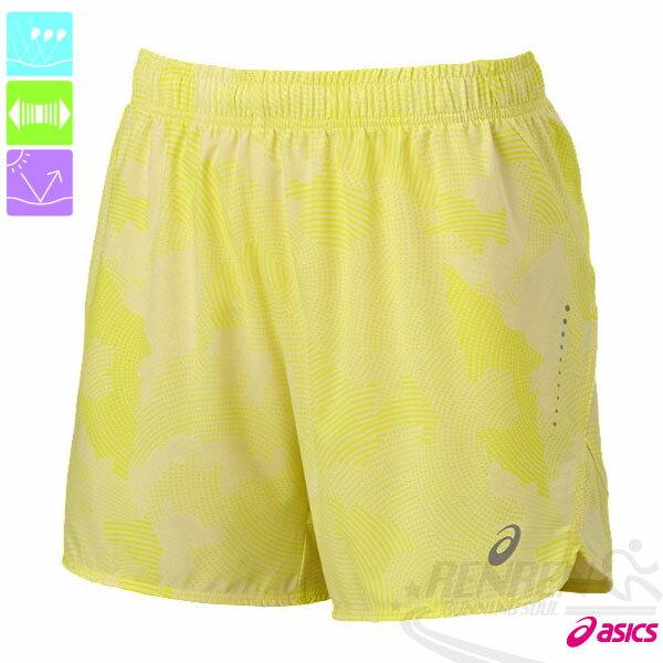 ASICS亞瑟士女慢跑短褲(鵝黃雲朵)路跑褲運動短褲後腰口袋2015新款