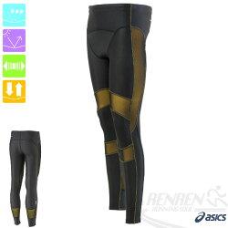 ASICS亞瑟士 男 全長緊身褲RF(黑*金) 體軸調整壓縮褲 全馬半馬路跑適用