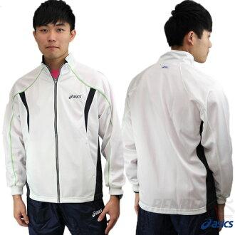 ASICS 亞瑟士 男 針織運動外套(白*綠L/XL) 彈性舒適 透氣排汗