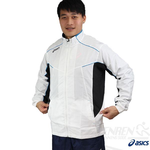 ASICS亞瑟士男路跑風衣外套(白色)防潑水運動外套