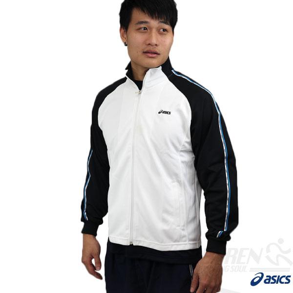 ASICS亞瑟士男針織抗UV運動外套(白*丈青)吸汗快乾