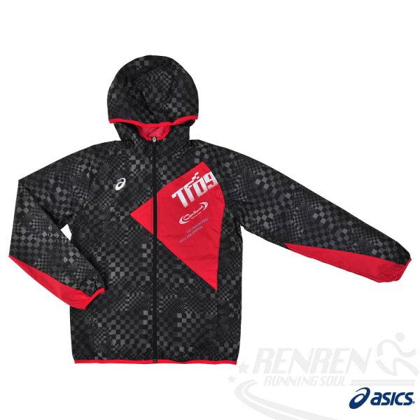 ASICS亞瑟士男運動風衣外套(黑*紅)防風防潑水防紫外線觸感柔軟2014年新款