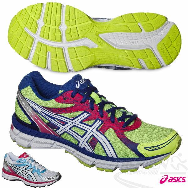 ASICS亞瑟士 女慢跑鞋GEL-OBERON 9健康入門款(螢光黃*桃紅) 2015新品 短里程 緩衝性佳