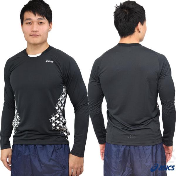 ASICS亞瑟士 長袖運動T恤(黑L/XL) 吸溼排汗快乾 側邊星星圖樣 各類運動適用