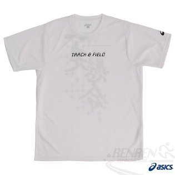 ASICS亞瑟士田徑印花T恤(白)。
