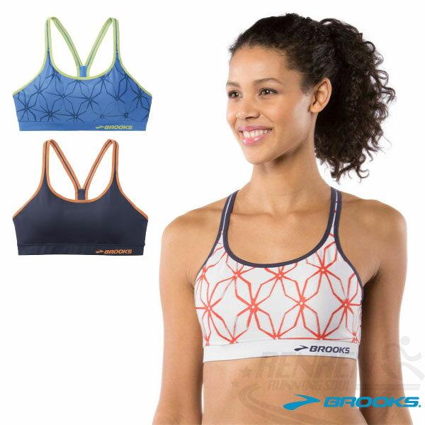 BROOKS女運動內衣(白底*橘格子)立體有形罩杯有氧運動短程跑步