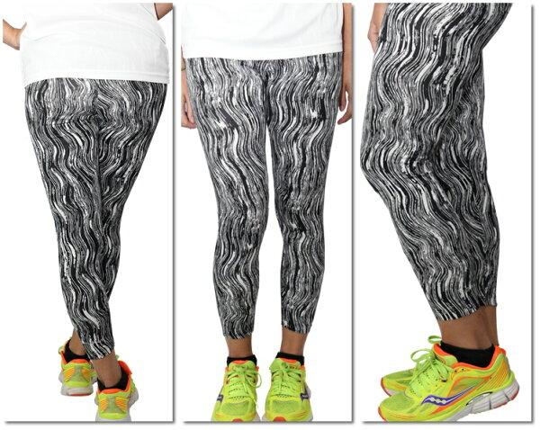 FIVEUP運動緊身長褲女黑白水墨條紋舒適彈性台灣製造