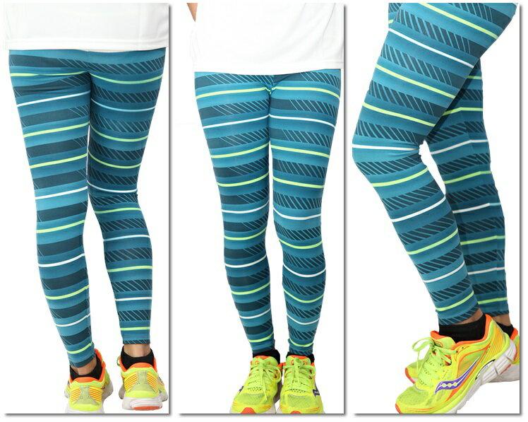 FIVE UP 運動緊身長褲 女 綠條紋 舒適彈性 台灣製造