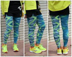 AIRWALK 印花運動緊身褲(綠*螢光) 休閒穿搭 運動保暖 兩用